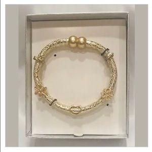🌺Cute Heart Flower Goldtone Fabric Wrap Bracelet